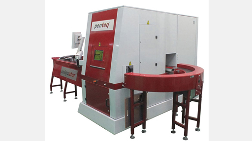 Fully automatic station for laser marking of small parts