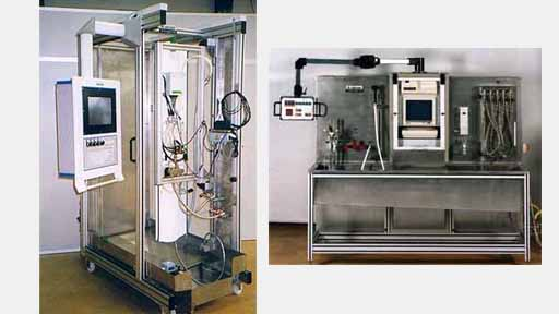 Hydraulic function test benches with water as a test medium